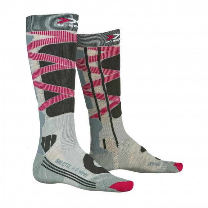 Calze sci X-Socks Control 4.0 grey mel-turquoise