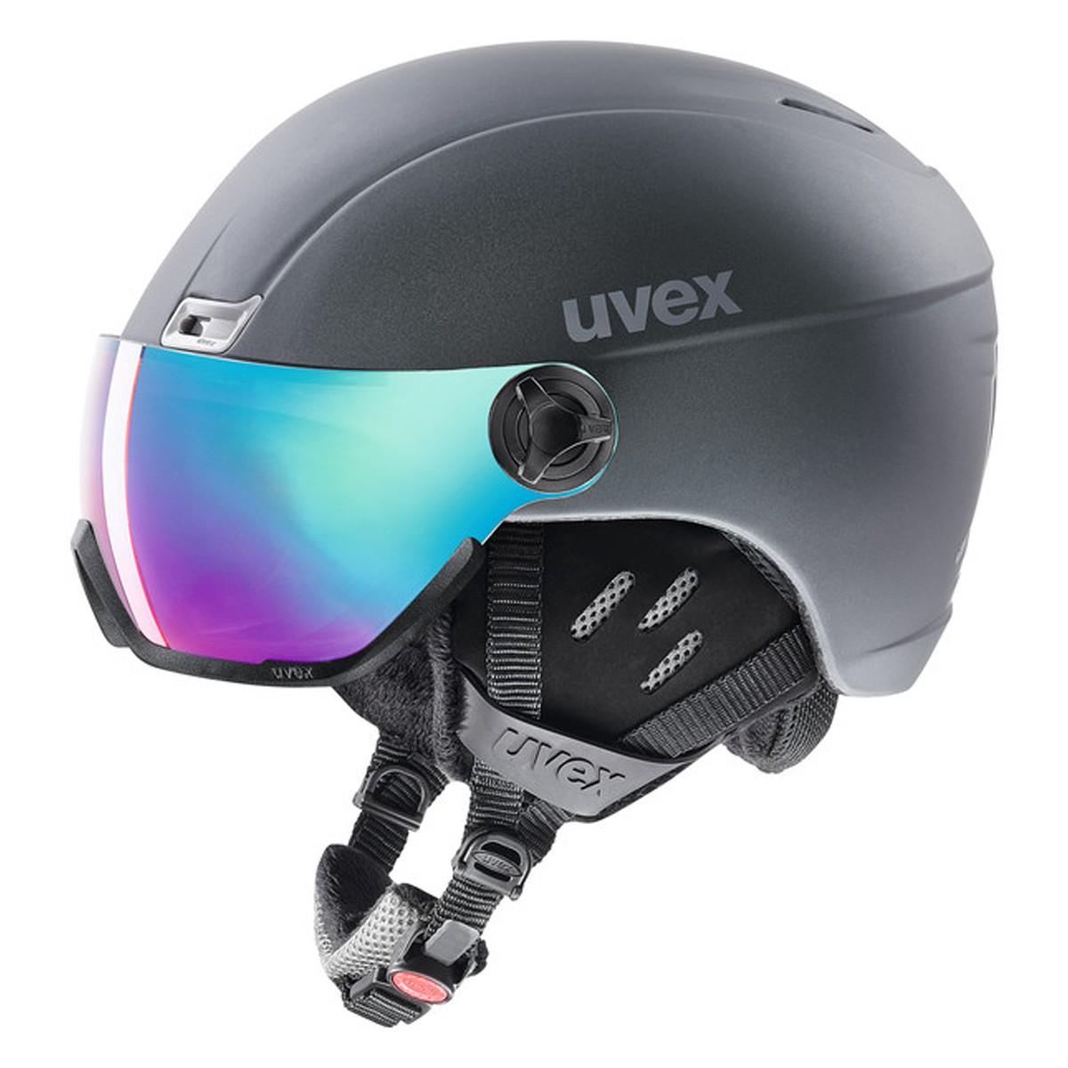 Casco sci Uvex Hlmt 400 Visor style (Colore: titanium mat, Taglia: 58/61)