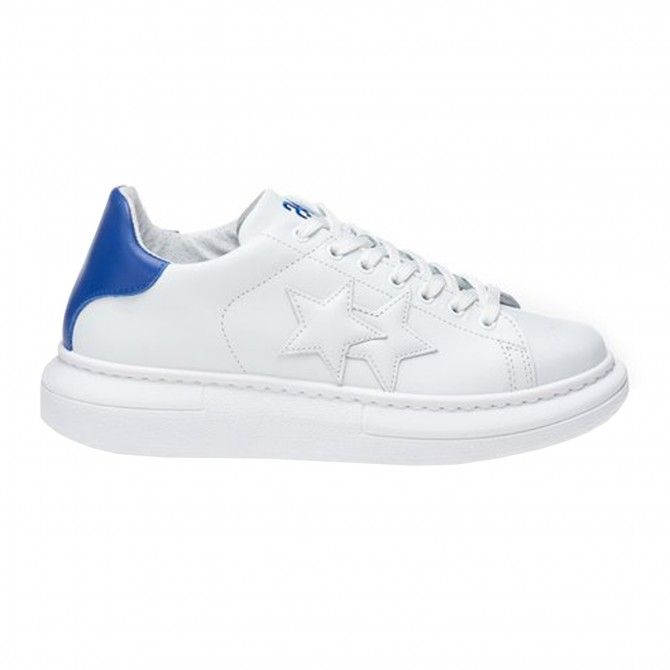 Baskets homme 2Star Low blanches-bleues