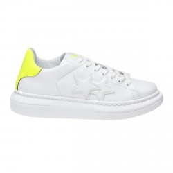 2Star Low men's sneakers white-yellow fluo