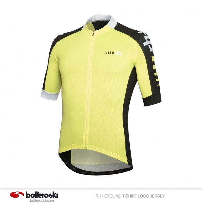T-shirt Ciclismo Rh+Jersey fluo yellow-black-white