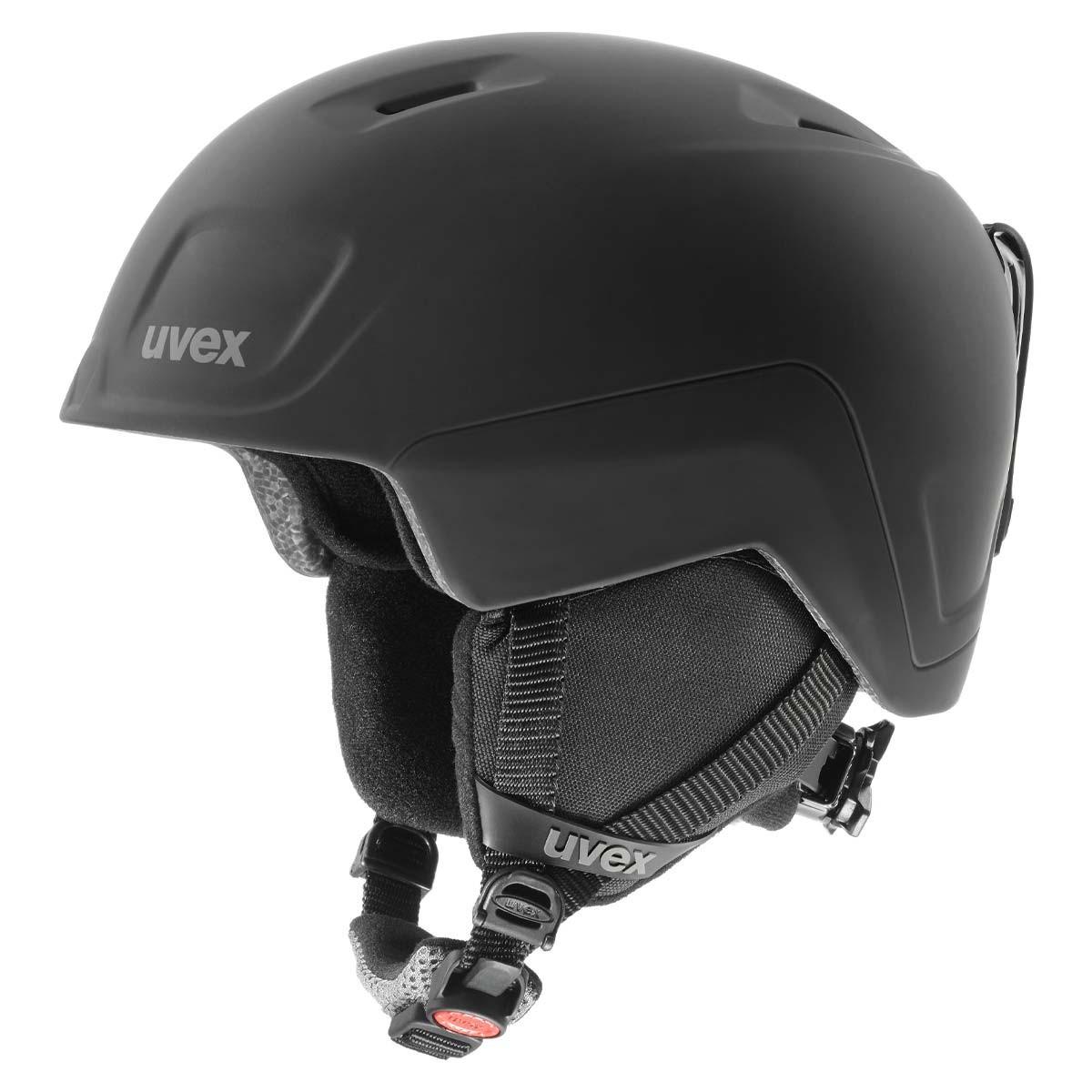 Casco sci Uvex Heyya Pro da bambino con maschera Uvex Flizz (Colore: nero mat, Taglia: 54/58)