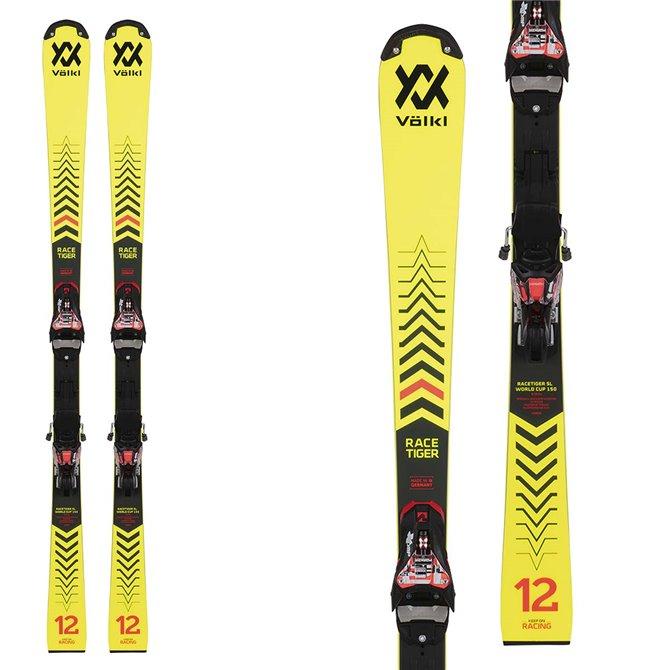 Ski Volkl Racetiger SL R JR W / la plaque avec des attaques de course 8 jaune noir