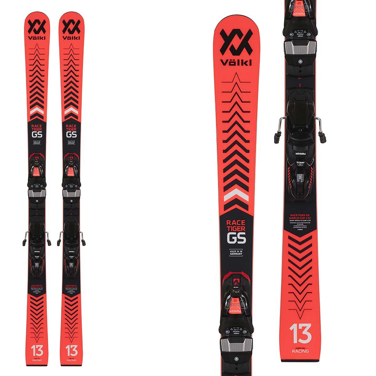 Sci Volkl Racetiger GSR JR 17 w/Plate L con attacchi Xcomp 12 (Colore: rosso nero, Taglia: 171)