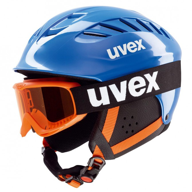 Casco sci Uvex Junior Set + mentoniera blu