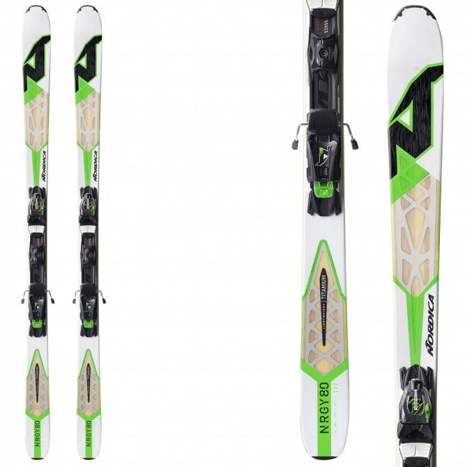 Esquí Nordica Nrgy 80 Evo + fijaciones N Adv Pr Evo blanco-verde