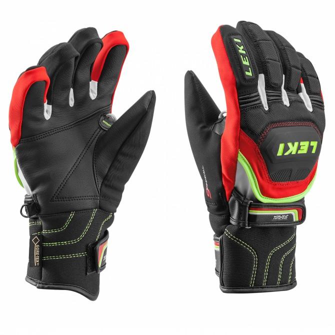 Gants de ski Leki WC Race Coach Flex S GTX Junior noir-rouge-blanch