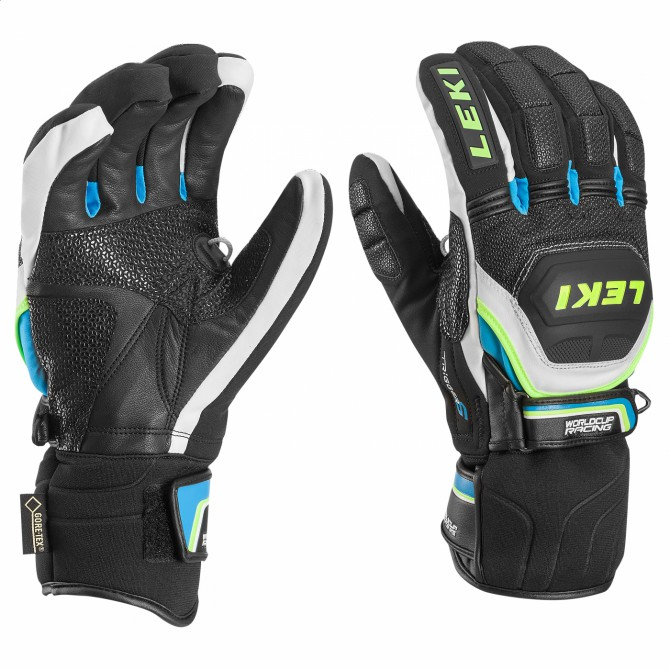Guantes de esquí Worldcup Race Coach Flex S GTX negro-blanco-royal-amarillo