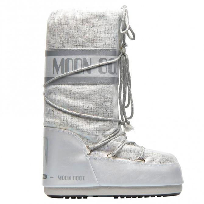 Doposci Moon Boot Shiny Brush Donna bianco