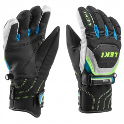 Gants de ski Leki WC Race Coach Flex S GTX Junior noir-blanch-royal-jaune