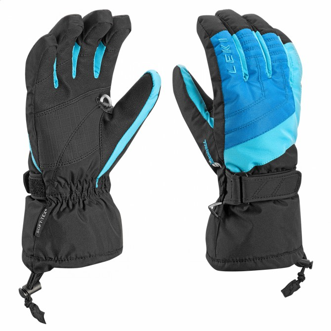 Ski gloves Leki Flims S Junior black-turquoise-royal