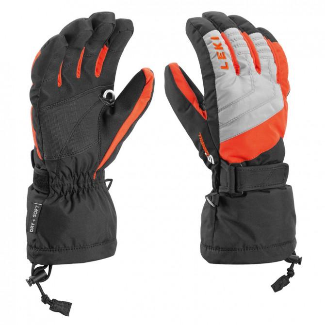 Gants de ski Leki Flims S Junior noir-gris-rouge