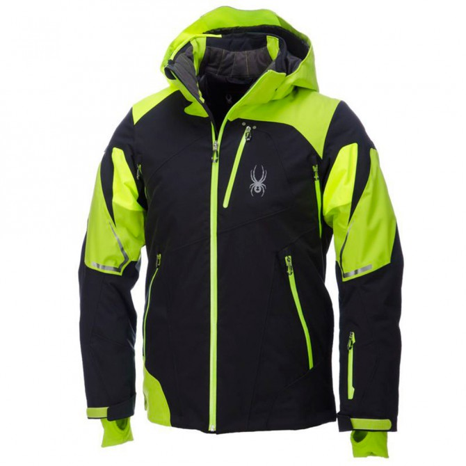 Giacca sci Spyder Leader nero-lime-giallo fluo