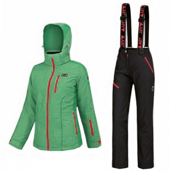 Complète de ski Astrolabio Femme vert-fuchsia-noir