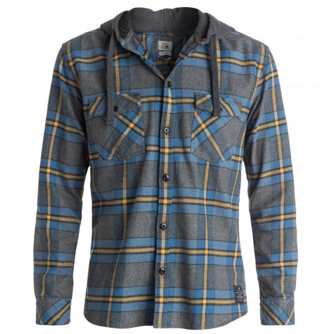 Camicia Quiksilver Rockyfist Uomo grigio-rosso-azzurro