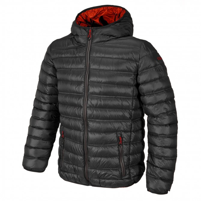 Hooded down jacket Cmp Man grey-red