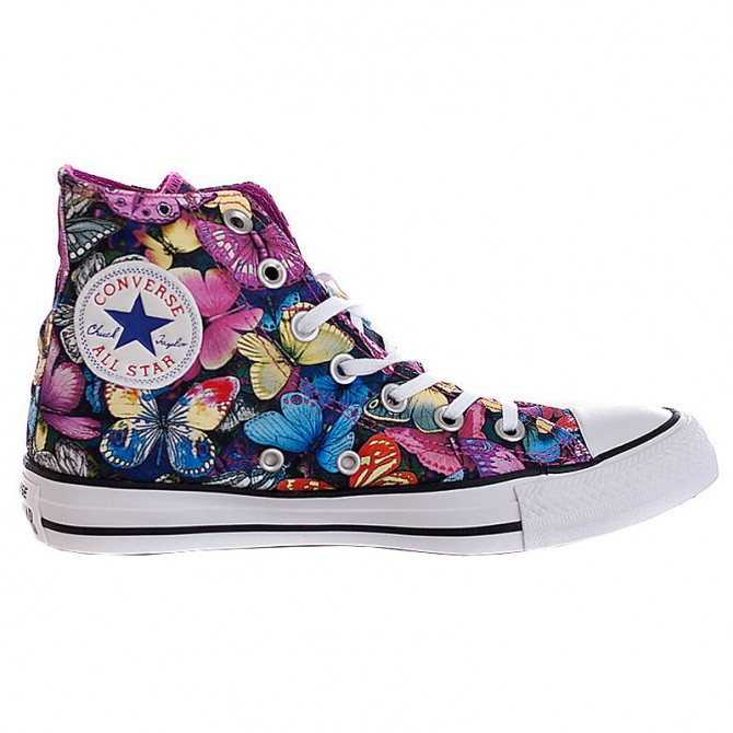 Sneakers Converse All Star Hi Canvas Donna fantasia farfalle