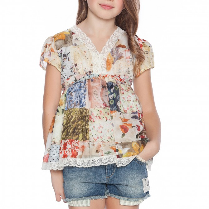Blusa Twin-Set Patchwork Ragazza
