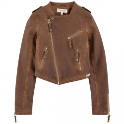 Biker jacket Twin-Set Girl brown