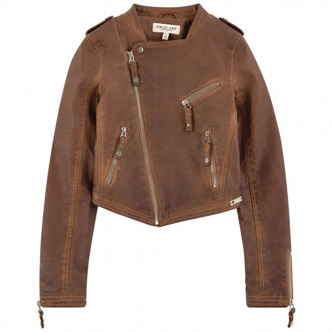 Biker jacket Twin-Set Girl brown