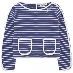 Pullover Twin-Set Fille bleu-blanc