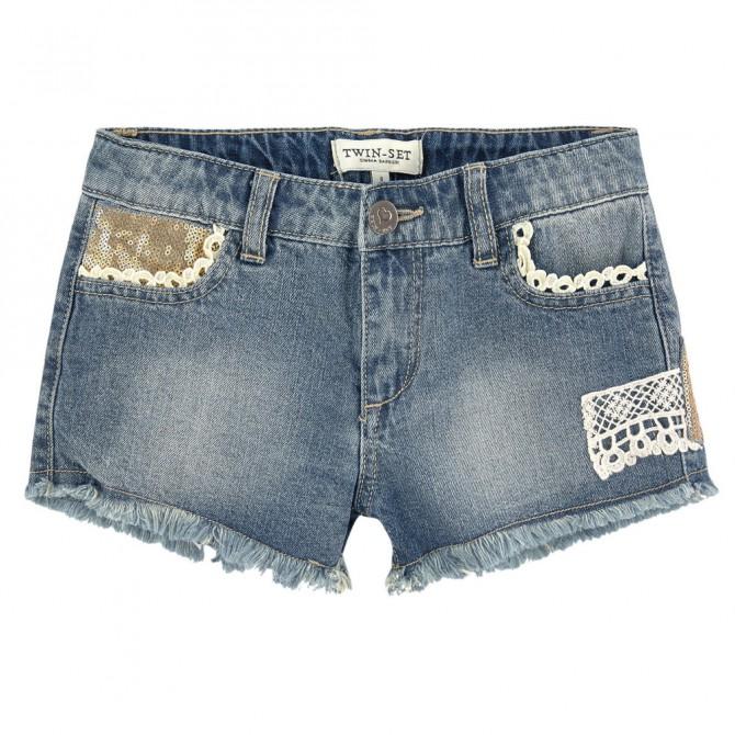 Short Twin-Set blu jeans chiaro