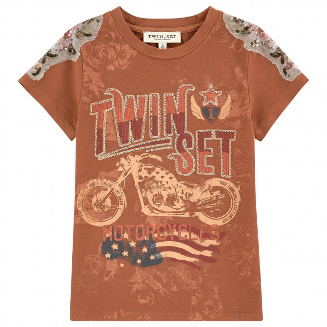 T-shirt Twin-Set Fille brun