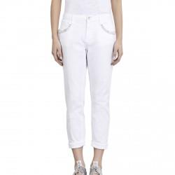 Pantalon Liu-Jo Boy Precious Regular Waist Femme blanc