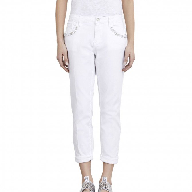 Pantalone Liu-Jo Boy Precious Regular Waist Donna bianco