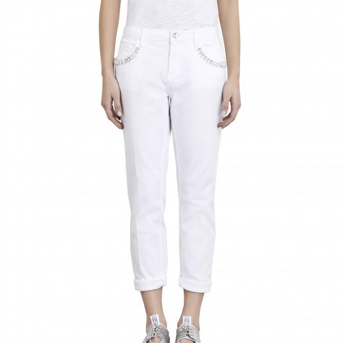 Pantalones Liu-Jo Boy Precious Regular Waist Mujer blanco
