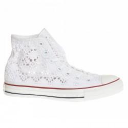 Scarpe Converse All Star Hi Crochet bianco
