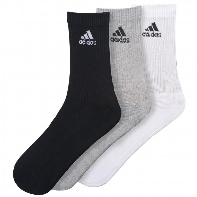 Calze Adidas 3-Stripes Performance bianco-grigio-nero