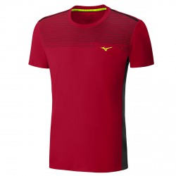 T-shirt Trail Running Mizuno rosso-nero
