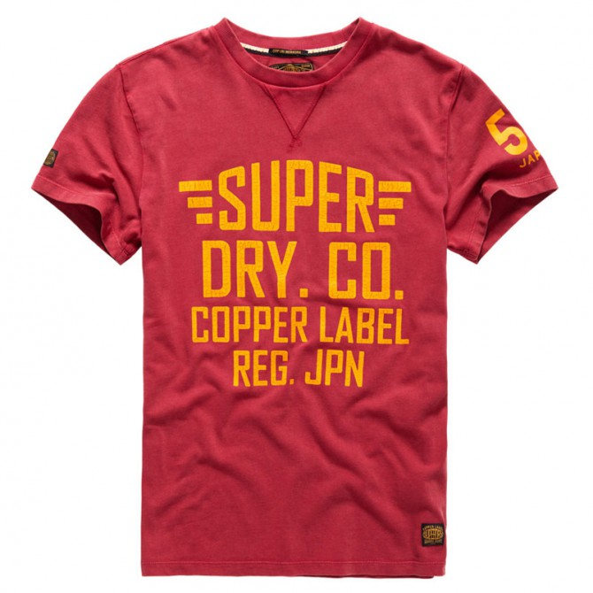 Felpa Super Dry Cafe racer bordeaux-arancio