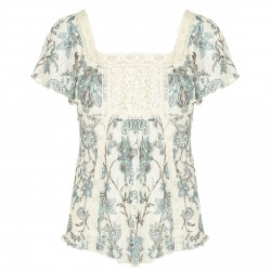 Blusa Denim & Supply Ralph Lauren Floral Lace Bib Donna
