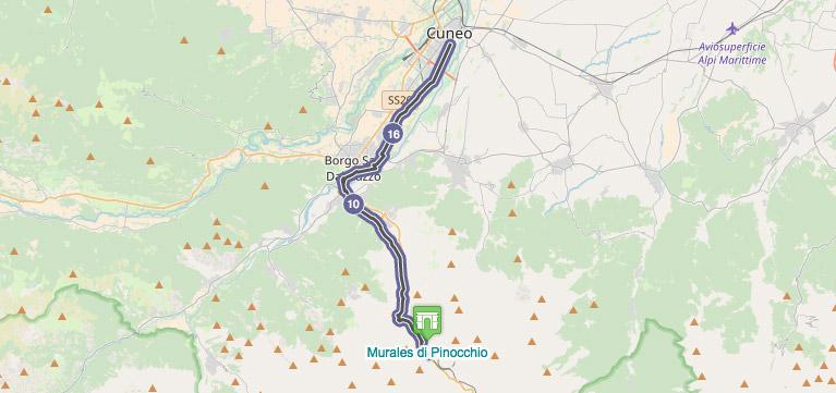 Cartina percorso test e-bike livello principiante-intermedio