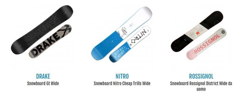 proposte di tavole per iniziare a fare snowboard