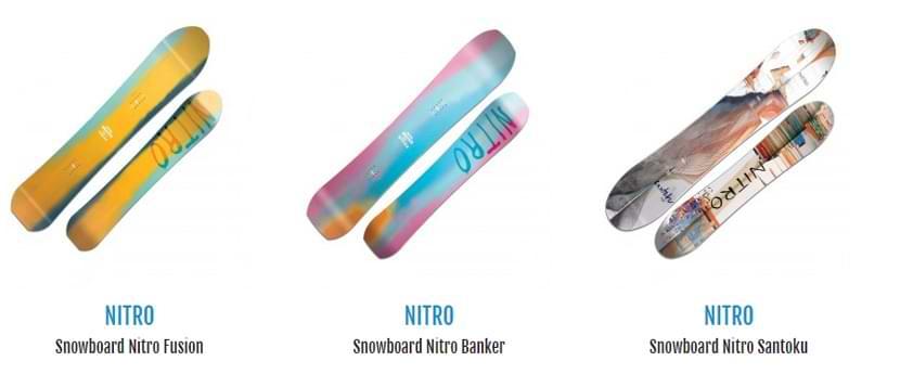 Alcune delle tavole da snowboard in vendita su botteroski