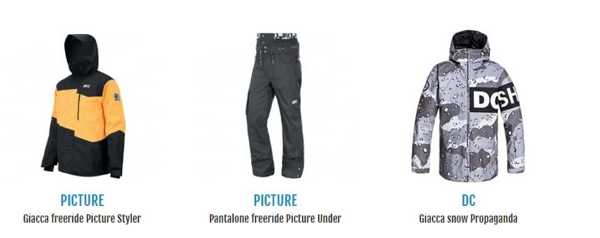Giacca e pantaloni da snowboard in vendita su Botteroski.com